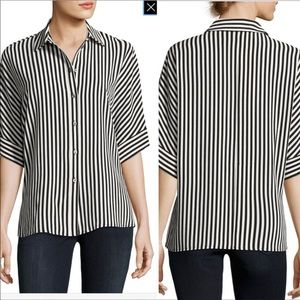 Vince Camuto Striped Button Down Short Sleeve Top